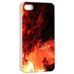 Fire Log Heat Texture Apple Iphone 4/4s Seamless Case (white)