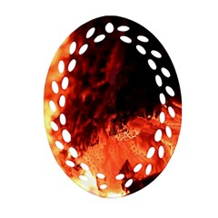 Fire Log Heat Texture Oval Filigree Ornament (two Sides)