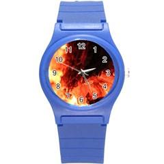 Fire Log Heat Texture Round Plastic Sport Watch (s)