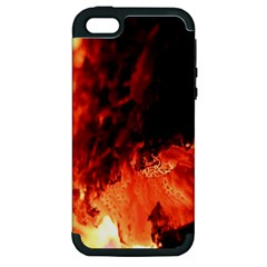Fire Log Heat Texture Apple Iphone 5 Hardshell Case (pc+silicone)