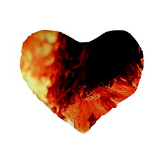 Fire Log Heat Texture Standard 16  Premium Heart Shape Cushions