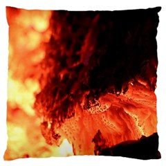 Fire Log Heat Texture Large Flano Cushion Case (One Side)