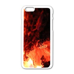 Fire Log Heat Texture Apple Iphone 6/6s White Enamel Case