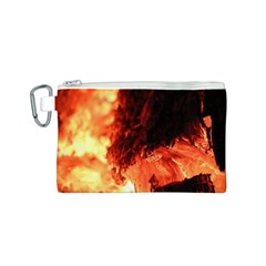 Fire Log Heat Texture Canvas Cosmetic Bag (s)