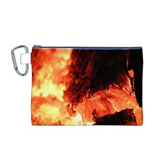 Fire Log Heat Texture Canvas Cosmetic Bag (m)