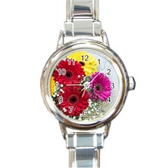 Flowers Gerbera Floral Spring Round Italian Charm Watch