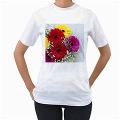 Flowers Gerbera Floral Spring Women s T-Shirt (White) (Two Sided)