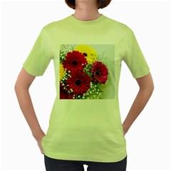 Flowers Gerbera Floral Spring Women s Green T-Shirt