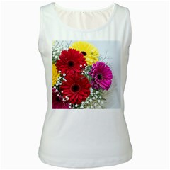 Flowers Gerbera Floral Spring Women s White Tank Top
