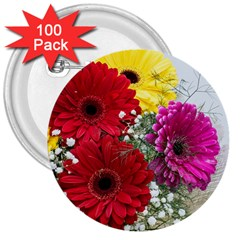 Flowers Gerbera Floral Spring 3  Buttons (100 Pack)