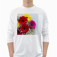 Flowers Gerbera Floral Spring White Long Sleeve T-Shirts