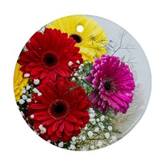 Flowers Gerbera Floral Spring Round Ornament (two Sides)