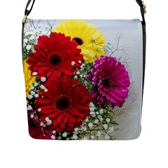 Flowers Gerbera Floral Spring Flap Messenger Bag (l)