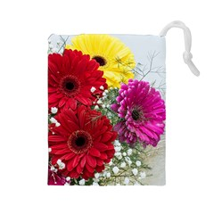 Flowers Gerbera Floral Spring Drawstring Pouches (Large)