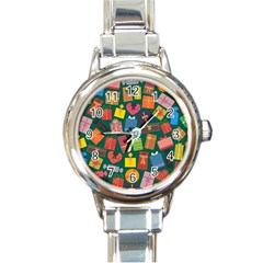 Presents Gifts Background Colorful Round Italian Charm Watch
