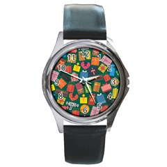 Presents Gifts Background Colorful Round Metal Watch