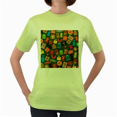 Presents Gifts Background Colorful Women s Green T Shirt