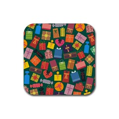 Presents Gifts Background Colorful Rubber Coaster (square)