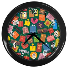 Presents Gifts Background Colorful Wall Clocks (black)