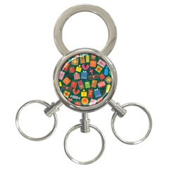 Presents Gifts Background Colorful 3-Ring Key Chains
