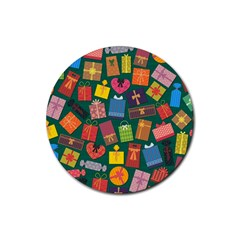 Presents Gifts Background Colorful Rubber Round Coaster (4 pack)