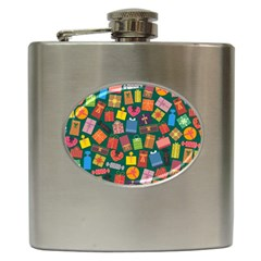 Presents Gifts Background Colorful Hip Flask (6 Oz)