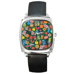 Presents Gifts Background Colorful Square Metal Watch