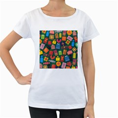 Presents Gifts Background Colorful Women s Loose Fit T Shirt (white)