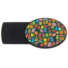Presents Gifts Background Colorful Usb Flash Drive Oval (4 Gb)