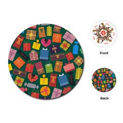 Presents Gifts Background Colorful Playing Cards (round)