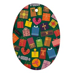 Presents Gifts Background Colorful Oval Ornament (two Sides)