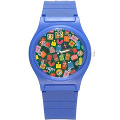 Presents Gifts Background Colorful Round Plastic Sport Watch (s)