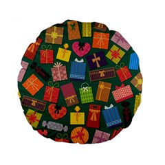 Presents Gifts Background Colorful Standard 15  Premium Round Cushions