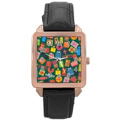 Presents Gifts Background Colorful Rose Gold Leather Watch