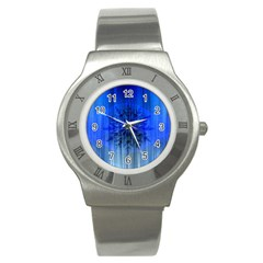 Background Christmas Star Stainless Steel Watch