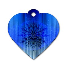 Background Christmas Star Dog Tag Heart (one Side)