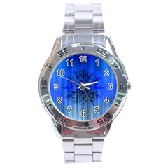 Background Christmas Star Stainless Steel Analogue Watch