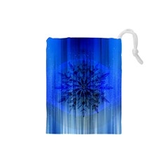Background Christmas Star Drawstring Pouches (Small)