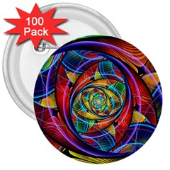 Eye of the Rainbow 3  Buttons (100 pack)