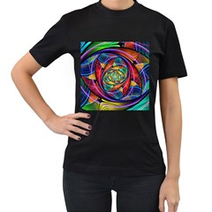Eye of the Rainbow Women s T-Shirt (Black) (Two Sided)