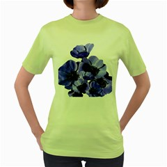 Poppy Blossom Bloom Summer Women s Green T Shirt