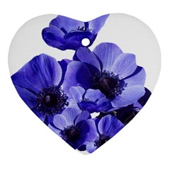 Poppy Blossom Bloom Summer Heart Ornament (Two Sides)
