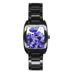 Poppy Blossom Bloom Summer Stainless Steel Barrel Watch