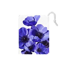 Poppy Blossom Bloom Summer Drawstring Pouches (small)