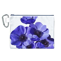 Poppy Blossom Bloom Summer Canvas Cosmetic Bag (L)