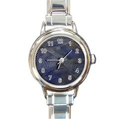 Textures Sea Blue Water Ocean Round Italian Charm Watch
