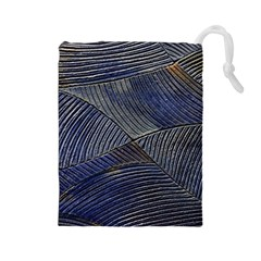 Textures Sea Blue Water Ocean Drawstring Pouches (large)
