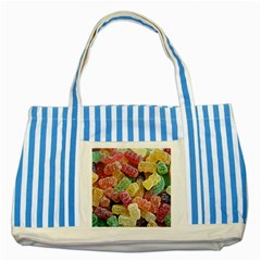Jelly Beans Candy Sour Sweet Striped Blue Tote Bag