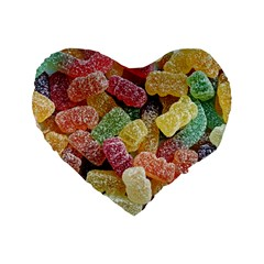 Jelly Beans Candy Sour Sweet Standard 16  Premium Heart Shape Cushions