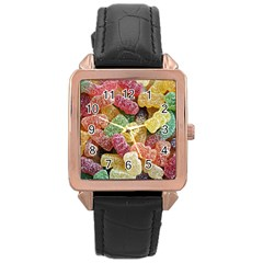 Jelly Beans Candy Sour Sweet Rose Gold Leather Watch